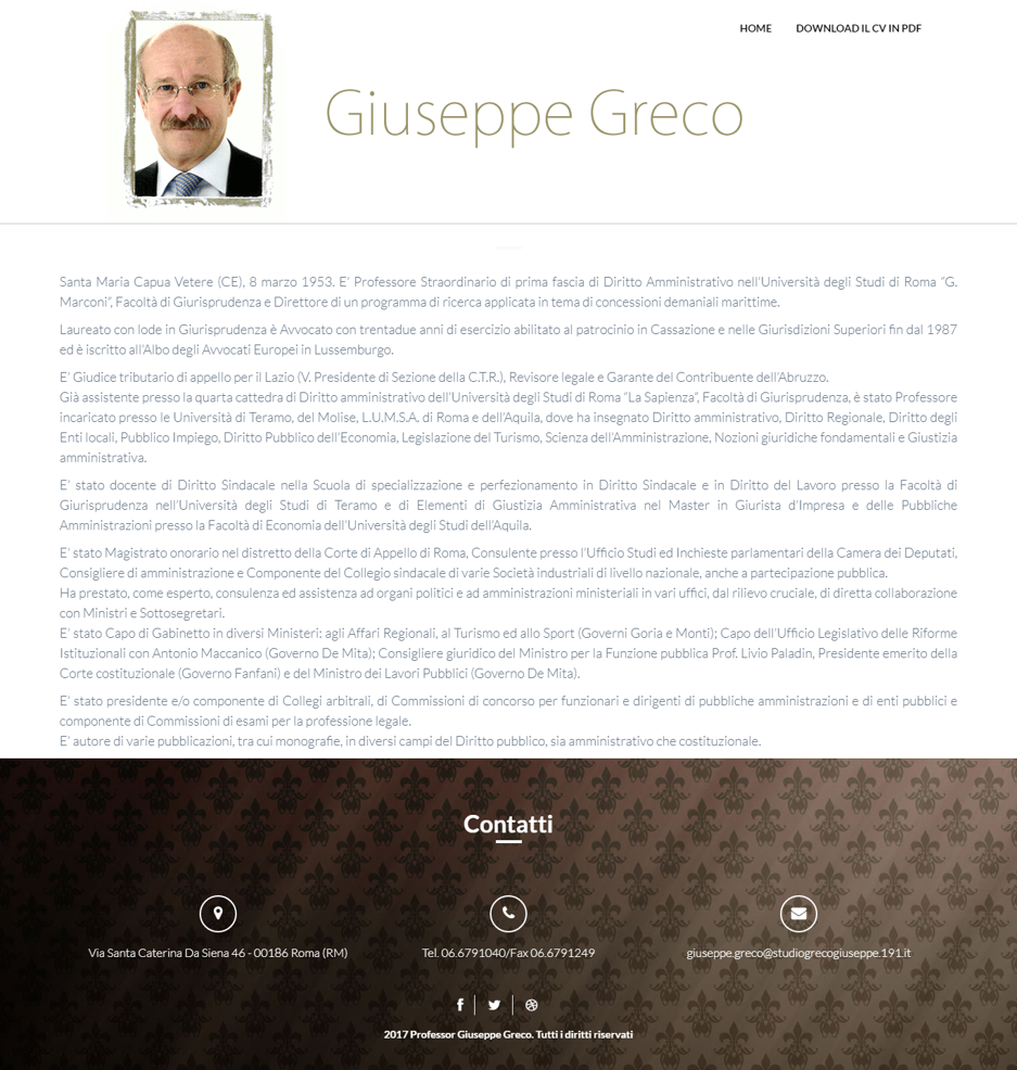Giuseppe Greco sito one page
